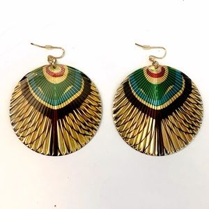 Peacock Prism Gold Round Drop Earrings